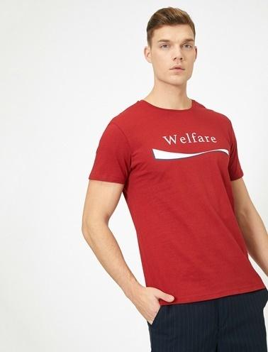 Koton Yazili Baskili T-Shirt Kırmızı